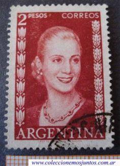 """Esta fue la más """" pegada """" Evita. Estampilla argentina de 1952, con la efigie de María Eva Duarte de Perón"""