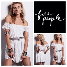 """Free People White Maya Lace Mini Dress.  NWT. Free People Maya Off-The-Shoulder Lace Dress, 100% nylon, washable, 18"""" armpit to armpit (36"""" all around) 29"""" elastic waist which stretches up to 42"""", 33"""" length, pullover style, flutter sleeves, extra button attached, measurements are approx.  No Trades... Free People Dresses Mini"""