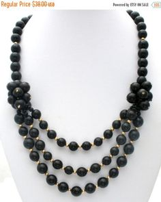 Sale Black Bib Necklace, Statement Jewelry ***ALSO SEE Vintage Jewelry at: http://MyClassicJewelry.com/shop