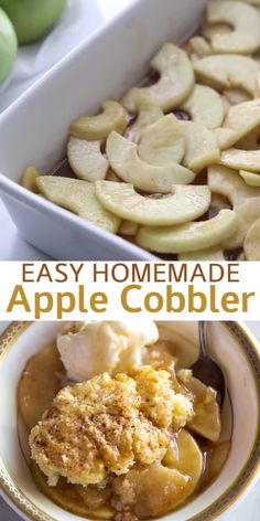 This old-fashioned Apple Cobbler is one of my FAVORITE fall desserts. It's made with fresh apples in a cinnamon sauce, with a delicious cake-like topping. y Postres Baked Apple Dessert, Apple Dessert Recipes, Baking Recipes, Cooking Apple Recipes, Easy Apple Desserts, Easy Delicious Desserts, Homemade Desserts, Yummy Drinks, Yummy Food