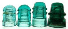 Lot of 4 Antique Glass Telegraph Insulators, NICE!!  Lot 2