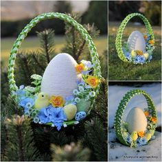 Artistic walk from Alicja___Alicja Paluch - Crochet Quilling Ideas Easter Tree, Easter Wreaths, Easter Eggs, Quilling, Diy Ostern, Easter Crochet, Egg Art, Egg Decorating, Christmas Printables