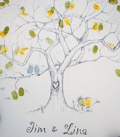 guest book, sign and fingerprint in yellow and green paint, provide towelettes for easy clean up