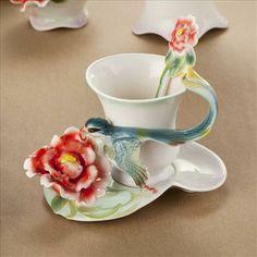 tea+cup+sets | ... Peony Lark Bird Coffee Tea Set Cup Spoon Saucer Franz Porcelain Style