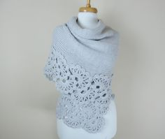 handmade soft graybshawl lace shawl cozy shawl by orangeknitting