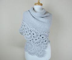 handmade soft graybshawl lace shawl cozy shawl by orangeknitting