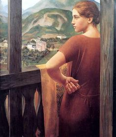 Ubaldo Oppi, Donna alla finestra, 1921