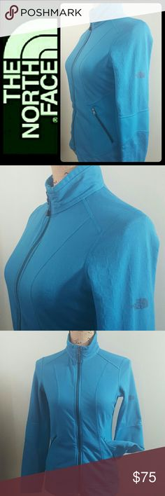 North Face Women's Zip Up Jacket North Face Signature Brand in Classic Zipper Sweater Jacket! Perfect for Everyday Use or For Times You Need Those Layers! Iconic Never Stop Exploring Collection in Magical Blue Shade!  Features The North Face Print Logo on Right Arm! Two Front Zip Pockets, Main Zip Closure with Fleece Feel Interior! Blend of Poly Elastaine Material, Excellent Used Condition! North Face Tops Sweatshirts & Hoodies
