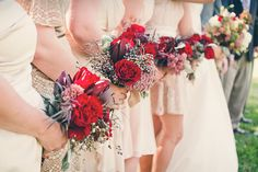Fall North Carolina Wedding with Pops of Red « Southern Weddings Magazine Red Bridesmaid Bouquets, Red Bridesmaids, Wedding Bouquets, Bridesmaid Dress, Wedding Themes, Our Wedding, Dream Wedding, Wedding Ideas, Wedding Venues