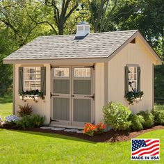 10' x 12' Heritage Storage Shed built in Amish Country, Ohio. So cozy, you may have a hard time calling it a storage shed. EZ Fit Sheds in Winesburg, Ohio