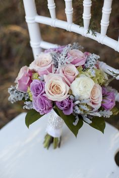 Pink and Purple Wedding Bouquet - Pretty color combo except for the spruce-looking sage-colored leaves. Purple And Silver Wedding, Purple Wedding Bouquets, Floral Bouquets, Wedding Flowers, Wedding Pins, Diy Wedding, Dream Wedding, Wedding Ideas, Pink Rose Bouquet