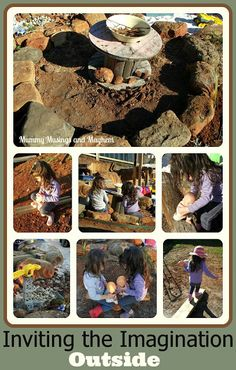 Activities to invite the imagination to play outdoors - Mummy Musings and Mayhem by rene Outdoor Play Spaces, Kids Outdoor Play, Outdoor Playground, Outdoor Learning, Outdoor Fun, Playground Ideas, Outdoor School, Nature Activities, Outdoor Activities