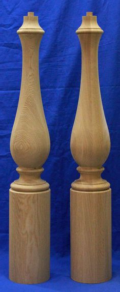 "K4011 7"" large newel posts have lengths of 44"" and 48"", 7"" dia round base or a 7"" square base and a 2-1/2"" dia pin top. Large wood newel posts are sold unfinished and manufactured by Kinzel Wood Products. Proudly Made in USA. Please contact us about custom sizes 1-866-683-2025."
