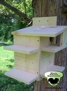 All nesting boxes and feeders are built and shipped within 14 days via UPS. We cannot ship feeders and nesting boxes to PO boxes you must provide a physical address.  The condo is made from 3/4 unfinished pine and features:  -air flow holes on three sides  -drainage holes in sides and bottom  - one, 3 entrance hole with a predator guard to keep the squirrels safe  -front door for easy cleaning  -grip strips on three sides  -interior guard  -covered side porch to keep predators out of the...