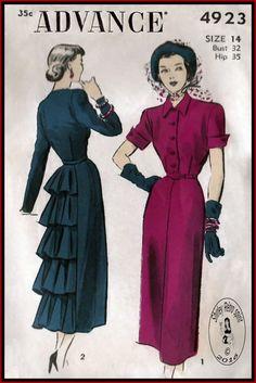 Advance 4923-1948  Advance Dresses Ruffles Shirtwaist 1940s Vintage Sewing Patterns Pointed Collar Cuffed Sleeves Flounce