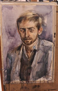 Portrait of Neil Hannon by Aine Divine - Dublin heat winner Portrait Artist of the Year 2014 (close-up) Gouache, Modern Portraits, Art Articles, Watercolor Portraits, Watercolor Ideas, Sky Art, Pastel, Old Master, Portrait Art