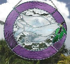 """Peace Dove Suncatcher w/ Purple Stained Glass Border - 8"""" - $29.95- From Accent on Glass  - www.accentonglass.com"""