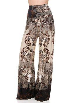 High Waist Foldover Boho Palazzo Pants (Beige) – Niobe Clothing
