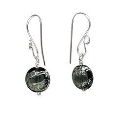 Murano Dichroic Silver and Black Sparkler Earrings | leannefdesigns