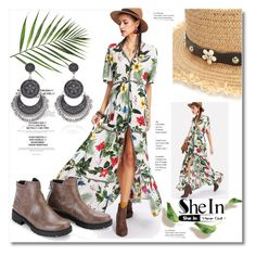 """""""SHEIN Embroidered Tape Detail Button Up Tropical Dress"""" by ilona-828 ❤ liked on Polyvore"""
