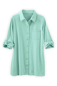 Fair Indigo Fair Trade Organic Relaxed Knit Button Down Shirt XS Blue Glass >>> Click image for more details.Note:It is affiliate link to Amazon.