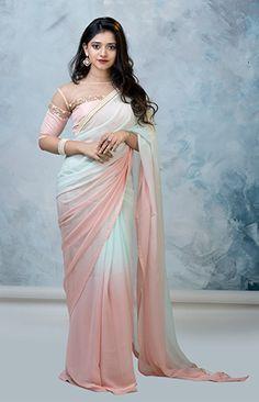 Buy online Sarees - Lina from Laksyah Cotton Saree Designs, Silk Saree Blouse Designs, Fancy Blouse Designs, Trendy Sarees, Stylish Sarees, Beautiful Saree, Beautiful Dresses, Young Girl Models, Saree Trends