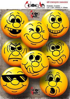 Smiley Emoticons Emoji Digital Collage Sheets in & in circles for in & 1 in Buttons Rock Painting Patterns, Rock Painting Designs, Rock Painting Ideas Easy, Painted Rocks Craft, Hand Painted Rocks, Rock Crafts, Stone Crafts, Image Collage, Pebble Art