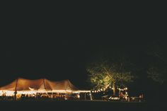 Night view of a rustic Marquee wedding