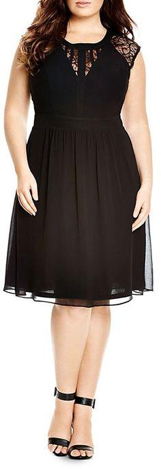 City Chic Dark Romance Lace Inset Dress Women - Plus - Bloomingdale's Plus Size Black Dresses, Plus Size Outfits, Dresses Elegant, Cute Dresses, Maxi Dresses, Curvy Fashion, Girl Fashion, Dress Fashion, Mode Plus