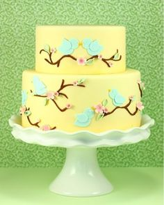 bridial shower cake ideas | Blue bird yellow wedding cake from Eat Cake Be Merry