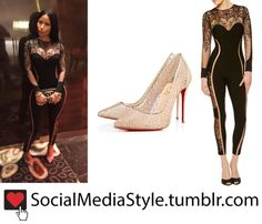 Buy Nicki Minaj's Black Lace Jumpsuit and Gold Lace Pumps, here!