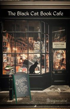 restaurant facade restaurant aesthetic The Black Cat Book Cafe twogonecoastal I Love Books, Books To Read, My Books, Sell Books, Coffee And Books, Book Cafe, Book Store Cafe, Shop Fronts, Book Aesthetic