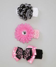 Look what I found on #zulily! Pink & Black Flower Bows Headband Set by Baby Essentials #zulilyfinds