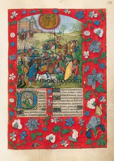 f. 173r, Apology of the conquest of Granada in 1492 - Abraham rescues Lot and is rewarded by Melchisedech. This painting by the ...