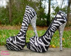 Zebra Silver & Black Glitter Heels by RippedClothing on Etsy ---- would love to try these!!!!