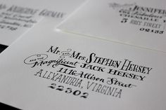 Some hand-addressed envelopes in pen and ink on cotton paper
