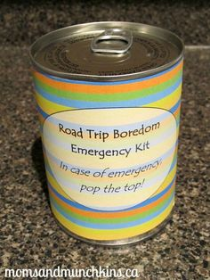 Pop Top Craft idea: Road Trip Boredom Emergency Kit. Comes with free printable games and a label. #KidsActivities #KidsCrafts #FreePrintables