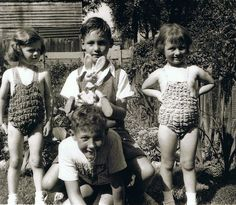 Stretchy swimming costumes, mine was blue