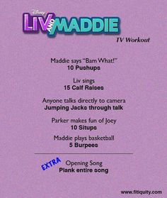 Enjoy Liv & Maddie but still work out! BeFitEverywhere Fitiquity is part of Tv workouts - Fitness Workouts, Tv Show Workouts, Fitness Herausforderungen, Summer Body Workouts, Cheer Workouts, Workout Videos, Cheer Abs, Cheerleading Workouts, Tv Workout Games