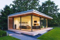 modern garden rooms design glass walls modern lighting