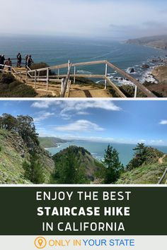 Take a short, easy, and beautiful staircase hike to the Muir Beach Overlook near San Francisco, California. You'll enjoy amazing views of the Bay Area, beaches, and mountains. Muir Beach, Best Bucket List, Famous Beaches, Hidden Beach, Adventure Is Out There, Staycation, Natural Wonders, Bay Area, Travel Usa