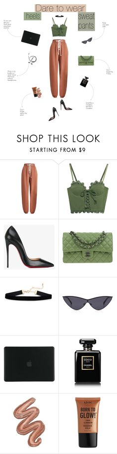 """Didn't they tell you that I was a savage?"" by sunshineb ❤ liked on Polyvore featuring Puma, Christian Louboutin, Chanel, Tucano, Violet Voss, NYX, outfit, Heels, Rihanna and sweatpants"