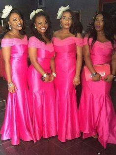 Hot Pink African Mermaid Bridesmaid Dresses Nigerian Women Formal Long Wedding Party Dress Maid Of Honor Gown · bridesdayprom · Online Store Powered by Storenvy