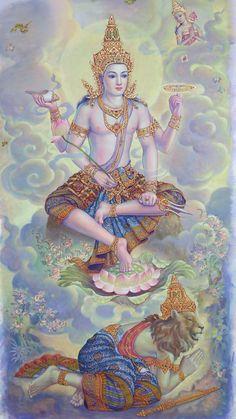 Character Art, Character Design, Spiritual Paintings, Thailand Art, Scratchboard Art, Lord Vishnu Wallpapers, Krishna Art, Hare Krishna, Spiritus