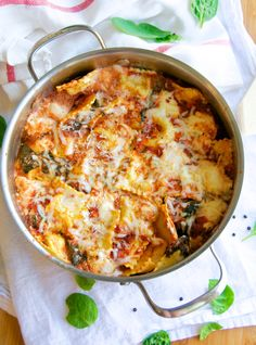 One Pot Skillet Ravioli and Spinach Lasagna Recipe - The same flavors and ingredients as lasagna, but with minimal prep and finished in 20minutes!