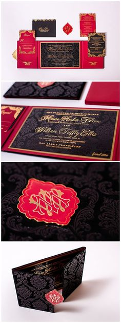 Velvet invitations in red, black and gold. These wedding invitations were designed with a damask pattern and printed with gold foil printing. Luxurious wedding invitations are taken to the next level with custom medallions. Click to read more or pin and save for later!