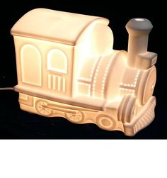 Boys, Ceramic Train Night Light buy now at Children's Rooms Ceiling Shades, Incandescent Bulbs, White Porcelain, Night Light, Rooms, Train, Ceramics, Lights, 3d