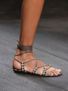 Valentino SS16 Sandals, hand painted.