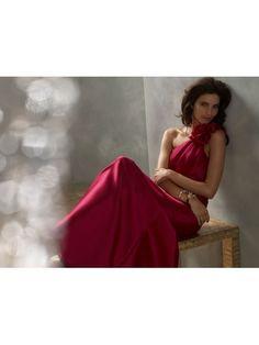A-line One Shoulder Floor Length/Long Red Satin Bridesmaid/Evening/Prom/Formal Dresses