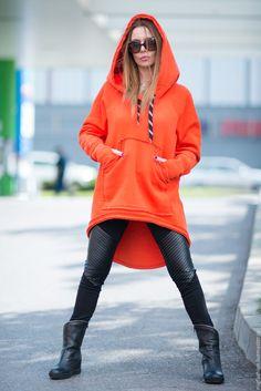 Купить Оранжевая толстовка с капюшоном - оранжевый, однотонный, толстовка, толстовка с капюшоном, толстовка женская, туника